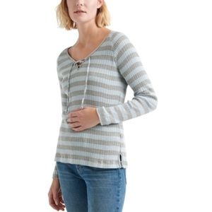 NWT Lucky Brand stripe lace up henley top
